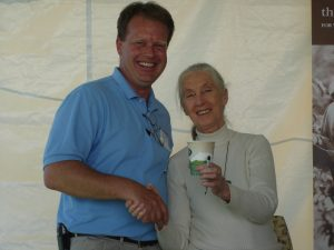 Dr-Jane-Goodall-making-an-agreement-with-Brian-Hall